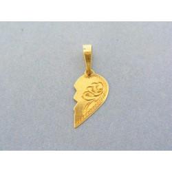 Zlatý prívesok pol vzorovaného srdiečka ... b454a46e94d