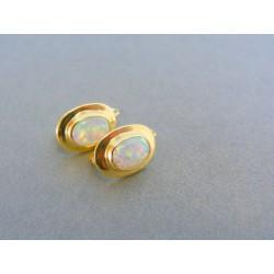 Zlaté dámske náušnice žlté zlato kameň opál DA270Z