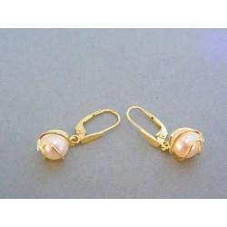 Zlaté dámske náušnice visiace zdobené perličkou žlté zlato VA408Z