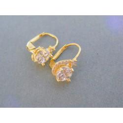 Zlaté dámske náušnice žlté zlato číre zirkóny DA323Z