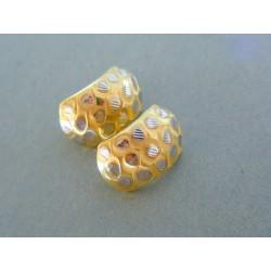 Zlaté dámske náušnice žlté biele zlato vzorované DA246V