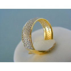 Zlatý dámsky prsteň žlté zlato posiaty kamienkami DP54358Z