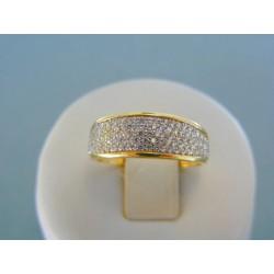Zlatý dámsky prsteň žlté zlato číre kamienky zirkónu DP54253Z