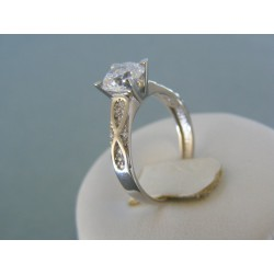 Zlatý dámsky prsteň biele zlato číre kamienky zirkónu DP56301B