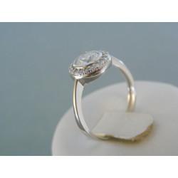 Zlatý dámsky prsteň biele zlato priehľadne kamienky DP57268B