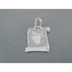 Zlatý prívesok platnička znamenie býk biele zlato DI049B