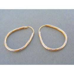 Zlaté dámske náušnice vzorované dvojfarebné zlato VA192V