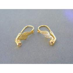 Zlaté detské náušnice vzorované žlté zlato kamienok VA108Z