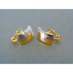 Zlaté dámske náušnice vzorované žlté biele zlato DA136V