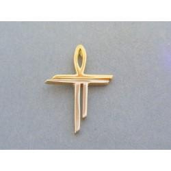 Zlatý prívesok krížik dvojfarebné zlato DIK273V