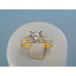 Zlatý dámsky prsteň žlté zlato trblietavé zirkóny VP56260Z