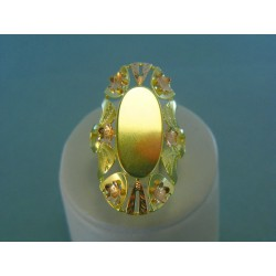 Zlatý dámsky prsteň žlté červené zlato zdobený kvetmi VP61682V
