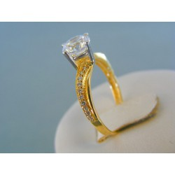 Zlatý dámsky prsteň žlté biele zlato zirkón v korunke VP56200V