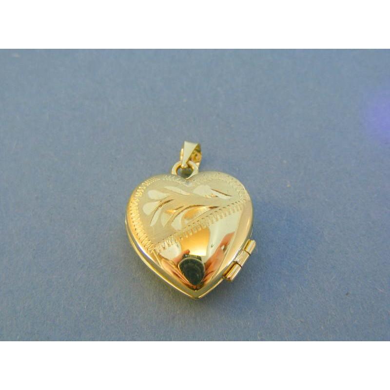 5c6a124b4 Zlatý prívesok otvaracie srdiečko vzor žlté zlato VI446Z 14 karátov ...