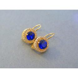 Zlaté dámske náušnice modrý kameň DA339Z 14 karátov 585/1000 3.39g