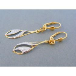 Zlaté visiace dámske náušnice žlté biele zlato jemný vzor DA162V 14 karátov 585/1000 1.62g