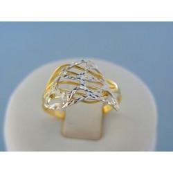 Zlatý dámsky prsteň žlté biele zlato vzorovaný VP56139V 14 karátov 585/1000 1.39g
