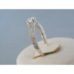 Zlatý dámsky prsteň biele zlato zirkón v korunke VP57199B 14 karátov 585/1000 1.99g