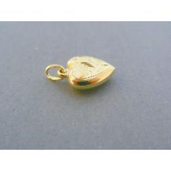 Zlatý prívesok srdiečko jemný vzor žlté zlato VDI123Z 14 karátov 585/1000 1.23g