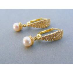 Zlaté visiace dámske náušnice žlžé zlato kamienky perla DA258Z 14 karátov 585/1000 2.58g