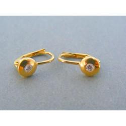 Zlaté dámske náušnice žlté zlato kamienok DA157Z 14 karátov 585/1000 1.57g