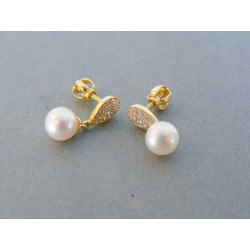 Zlaté dámske náušnice visiace perličky žlté zlato šrubovačky VA253Z 14 karátov 585/1000 2.53g
