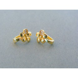Zlaté dámske náušnice kvet kamienky VA159Z 14 karátov 585/1000 1.59g