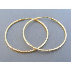 Zlaté dámske náušnice kruhy vzorované žlté zlato DA238Z 14 karátov 585/1000 2.38g