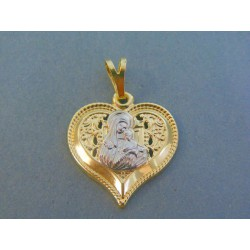 Zlatý prívesok srdiečko Mária s dieťaťom žlté biele zlato VIS177V 14 karátov 585/1000 1.77g