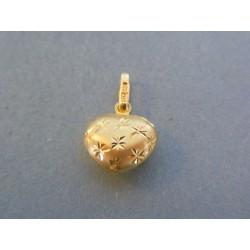 Zlatý prívesok srdiečko jemný vzor DI088Z 14 karátov 585/1000 0.88g