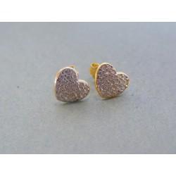 Zlaté dámske náušnice srdiečka žlté zlato kamienky VA112Z 14 karátov 585/1000 1.12g