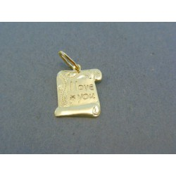 Zlatý prívesok platnička s nápisom Y love you žlté zlato DI088Z
