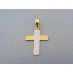 Zlatý prívesok krížik dvojfarebné zlato vzorovaný DIK083V