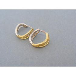Zlaté náušnice tvarované žlté biele zlato kruhy DA188V