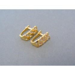 Zlaté náušnice žlté biele zlato mriežkovaný vzor DA205V