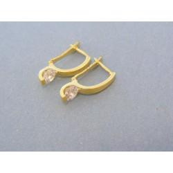 Zlaté náušnice dámske žlté zlato zirkón DA246Z