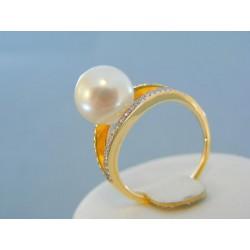 Zlatý prsteň žlté zlato perla briliant VPB57459Z