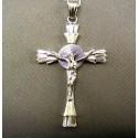 Zlatý prívesok krížik biele zlato s Ježišom vzorovaný VI677K