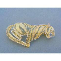 Zlatá brošňa žlté biele zlato VB366Vst