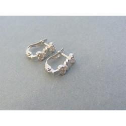Strieborné dámske náušnice vzorované zirkóny VAS145
