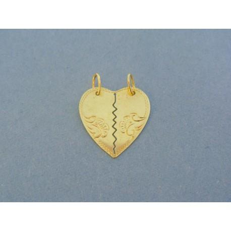 4a562d09d Zlatý prívesok srdiečko pre dvoch s jemným vzorom VI150Zso