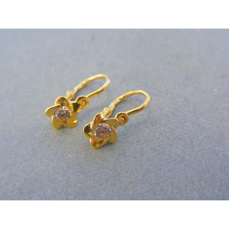 e3fa6dd6b Zlaté detské náušnice tvar kvet kamienok zirkónu žlté zlato DA081Z