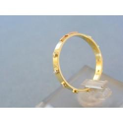 Zlatý prsteň ruženec dvojfarebné zlato kamienky VP57184V