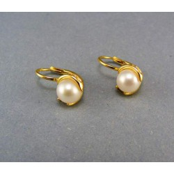 Zlaté náušnice žlté zlato s perlou VA325