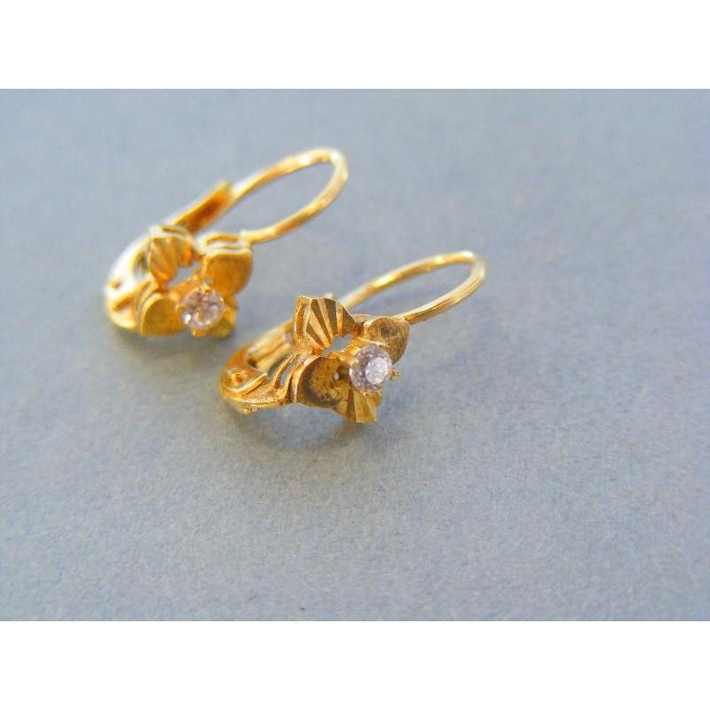 a47c54508 Zlaté náušnice kvet žlté zlato zirkón VA237Z. Loading zoom