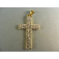 Zlatý prívesok krížik zo zlata posiaty kamienkami VI166Z