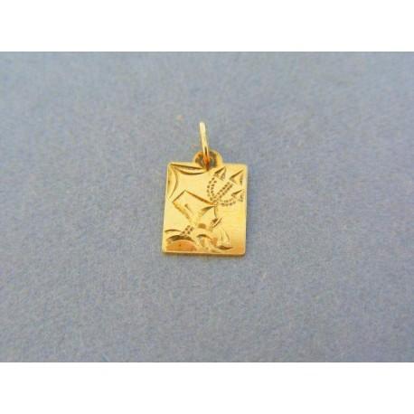 bc6ffff88 Zlatý prívesok platnička znamenie vodnár žlté zlato VI039Z