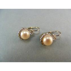 Zlaté náušnice z bieleho zlata perla kultivovaná VA409B