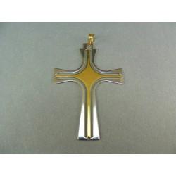 Zlatý prívesok krížik kombinácia biely okraj VI299V