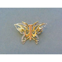 Zlatá brošňa tvar motýľ trojfarebné zlato DB202V